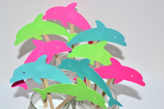 12 Dolphin Cupcake Toppers Dolphin Birthday Invitation