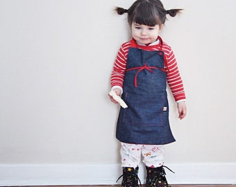 Kids apron for craft, gardening or cooking  -navy blue denim with pocket