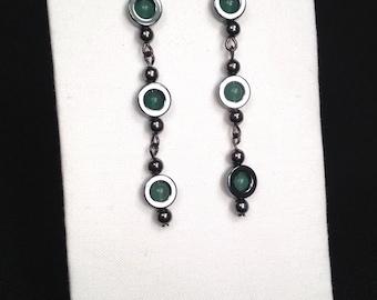 Green and Grey: Hematite and Adventurine Earrings