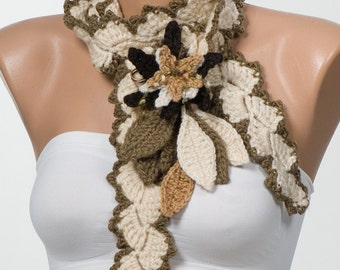 Long Crochet scarf. Crochet belt. Cream and Brown. Crochet flowers and leaves.