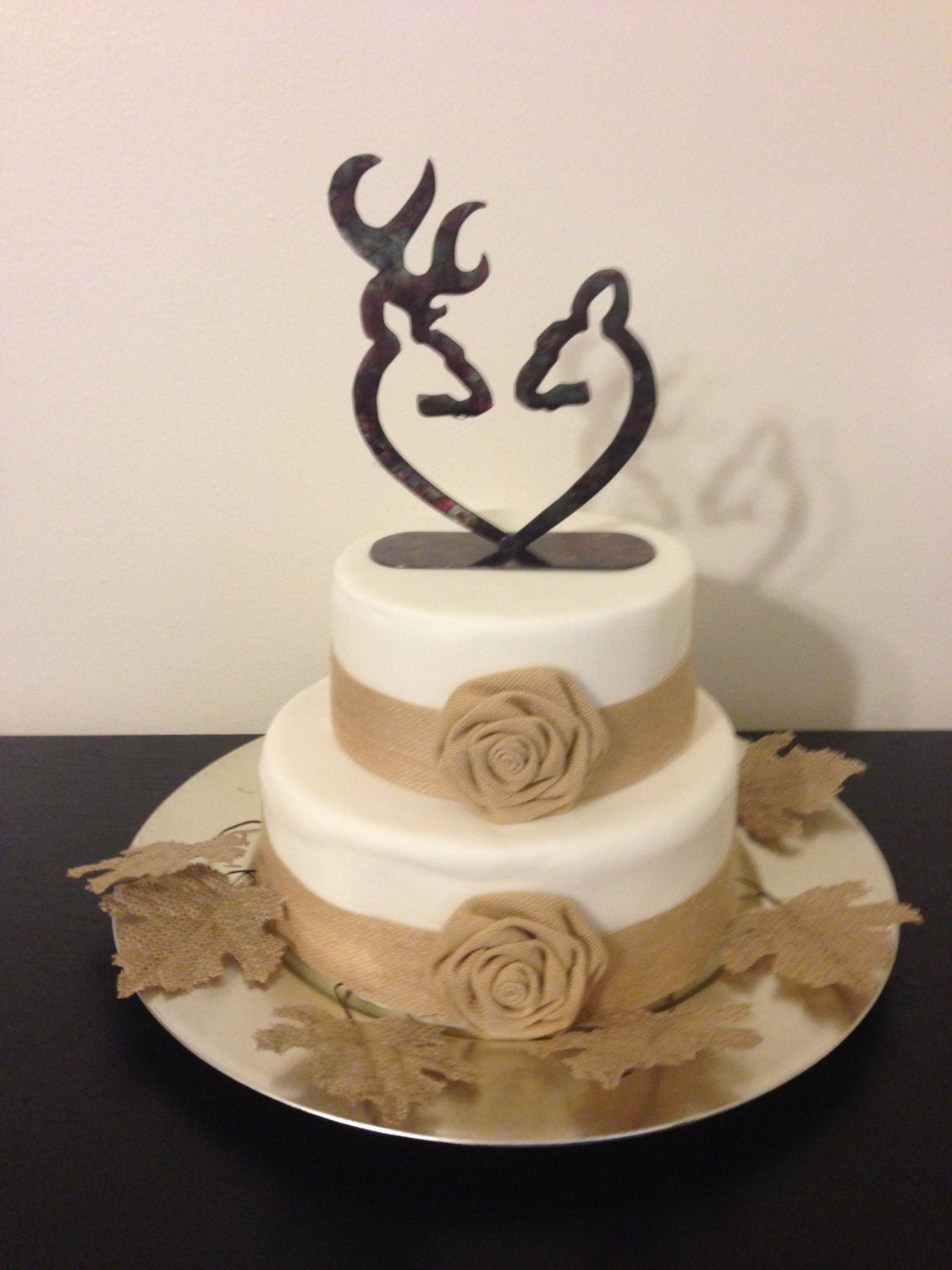 Wedding Cake Topper Wedding bride and groom heart Deer