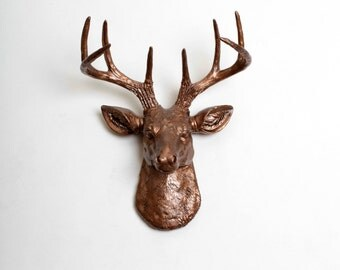 The Original Mini Deer Head Decor: The MINI Bennett - Bronze Resin Deer Head - Resin Stag by White Faux Taxidermy Chic Deer Head Wall Mount