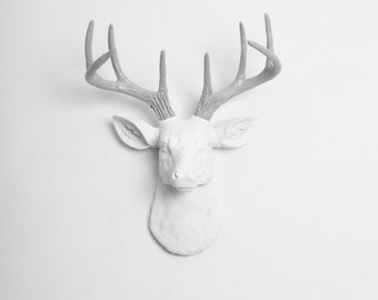 Faux Deer Mount - The MINI Helena - White w/Gray Antlers Resin Deer Head- Stag Resin White Faux Taxidermy- Chic & Trendy