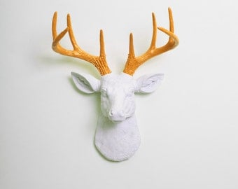 Deer Head Decor by White Faux Taxidermy - The MINI Blanche - White W/ Mustard Yellow Antlers Resin Deer Head- Stag Wall Mount & Animal Heads