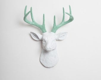 Deer Head Wall Mount The MINI Isabella - White W/ Seafoam Green Antlers Deer Head Decor - Stag Resin Animal Heads by White Faux Taxidermy