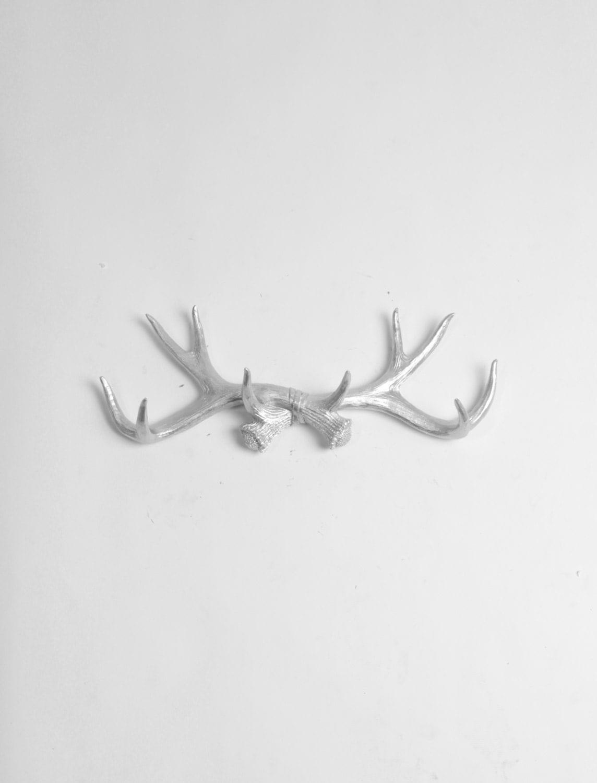 Silver Deer Antlers Wall Decor : Faux deer antler decor in silver hook jewelery