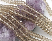 Lot of 5 strands 6x4mm Smoky Topaz Gray Chinese Crystal Glass Rondelle Loose Spacer Beads 98 beads/strand (BH3605)