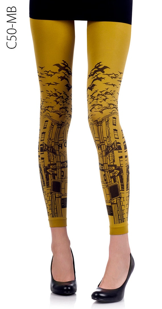 New York printed leggings/ Tattoo Urban leggings/ Mustard/  Free shipping!