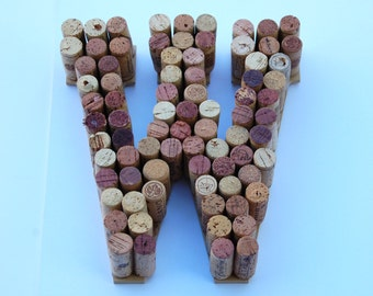 "10"" Wine Cork Letters W. Made from real wine corks! Bookshelf or wall decoration, wedding gift, anniversary gift, housewarming gift UNIQUE!"