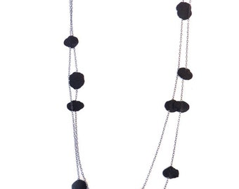 Evening necklace black confetti