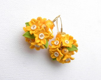 Flower Earrings, Yellow Earrings, Round Earrings, Dangle Earrings,Spring Earrings, Handmade Earrings, Narcissus,Flower Jewelry, Gift For Her