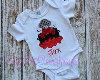 Personalized Crawfish Boil Applique Kids Shirt, Boys Crawfish Shirt, Girls Crawfish Shirt, Baby Crawfish Bodysuit, Kids Crawfish Boil Shirt