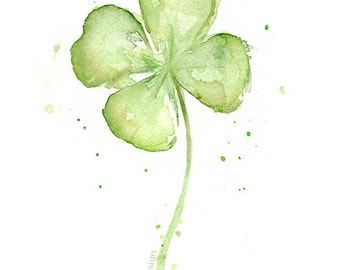 Four Leaf CLover Art Print of Watercolor Painting, Plans, St Patricks ...