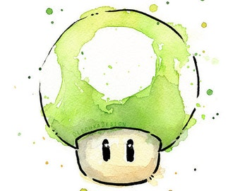 Green 1UP Mushroom Watercolor Art Print, 1UP Print, 1UP Art, Mario Print, Geek Videogame, Nintendo Mario Painting, Gren Mushroom Painting