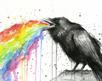 Raven Tastes the Rainbow Watercolor Art Print, Black Bird Painting, Animal Decor, Raven Art, Funny, Whimsical Bird, Whimsical Animal