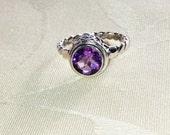 Amethyst Ring Bali Style Handmade Jewelry February Birthstone & 6th Anniversary Gemstone