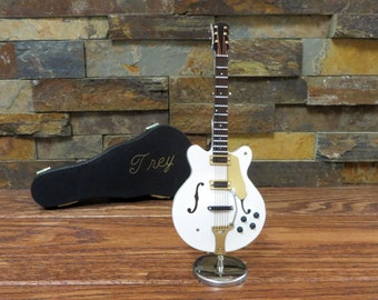 Miniature Electric Guitar White w Personalized Case- Music Gift- Instrument(CGC18W)