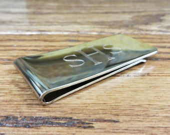 Silver Money Clip - Personalized- Monogram Money holder- Gifts for Men- Groomsmen