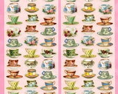 Tiny Tea Cups STICKERS - Tea Stickers - Tea Party Stickers - Violette Stickers
