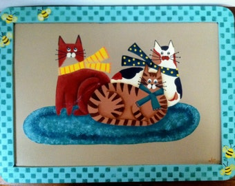 3 Kitty Cats on Rug Hand Painted on Framed Slate ~ Free Shipping