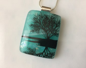 Fused Glass Jewelry, Reflection Tree Pendant, Aqua Blue Sky Tree Necklace