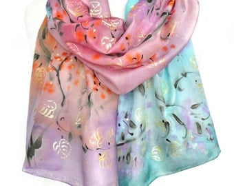 Hand Painted Scarf. Blue Pink Silk Scarf. Anniversary Birthday Gift for Her. Colorful Shawl. Genuine Silk Art 18x71in (45x180cm) MADEtoORDER