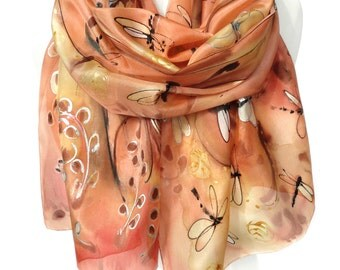 Tree Scarf. Hand Painted Silk Scarf. Unique Gift. Copper Orange Scarf. Echarpe Foulard Birthday Anniversary Gift 18x71in MADE to ORDER