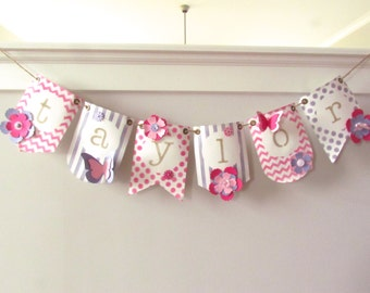Name Pennant Banner For Girl - Choose Colors