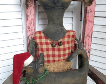 Made to Order ~Primitive Grungy Folk Art~ Mrs. Winnie Baker Doll w/Christmas Kitty Set~HAFAIR