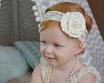 Ivory Christening baby Headband, Newborn headband, baby hair bow, Newborn photo prop, hair accessories. Infant Headbands, Flower Girl