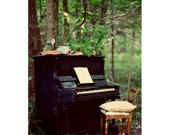 Piano Postcard, Autumn, Nature Photograph, Dreamy Fine Art Print, Vintage, Nature Photography