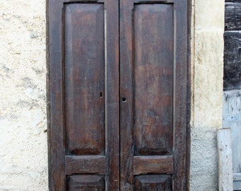 Vintage Italian hardwood double entrance door