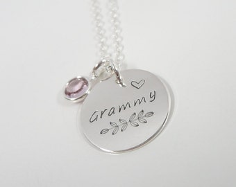 Sterling Silver Grammy Necklace with Swarovski Birthstone - Hand Stamped Nana Necklace - Grandmother Necklace