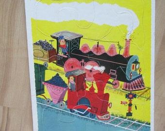 vintage  PLAYSCHOOL TRAIN PUZZLE cardboard transportation travel ephemera kids