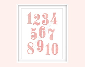 Baby Girl Nursery Prints, Numbers Nursery Print, Blush, Rose, 1 to 10, Watercolour, Pink and Gold Nursery, Modern Nursery, Baby Wall Decor