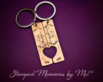 Like Mother, Like Daughter - Hand Stamped Copper Rectangle Keychains with Heart - Mom and Child Keepsake - Key Chain - Handstamped Jewelry