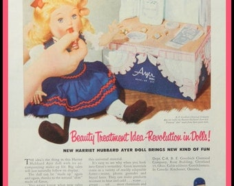 Harriet Hubbard Ayer Doll Ad - vintage doll advertising from B F Goodrich Chemical, toy collectible or wall art