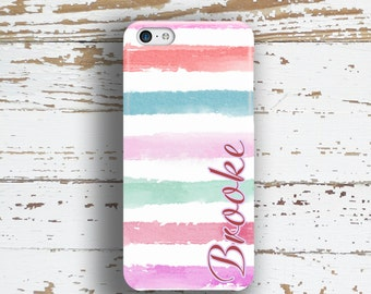 Unique gift for sisters, Cute Iphone 6 Plus case, Pastel Iphone 5c case, Stripe iPhone 5 case, Fashion iPhone 4 case Pink blue purple (1341P