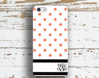 Mothers day gift idea, Dot Iphone 6 case, Monogram Iphone 5c case, Pink iPhone 5s case, Womens iPhone 4 case, For Her, Pink black (1333)
