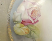 Vintage Hand Painted Plate. Wall Hanging. Vintage Wedding.French Cottage Decor. Shabby Chic