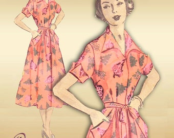 Advance 5441 1950s Vintage Dress Pattern Back Wrap Fashion with Very Full Flared Skirt Two Necklines Bust 34
