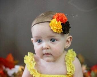 Baby Headband, Fall Baby Headband, Infant Headband, Newborn Headband, Toddler Headband, Orange, Yellow, and Brown Headband, Triple Mini Puff