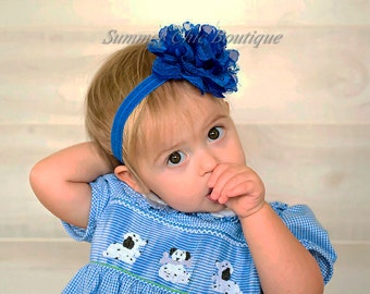 Royal Blue Baby Headband, Baby Headband, Infant Headband, Newborn Headband , Royal Blue Headband, Blue Headband  Frayed Chiffon and Lace