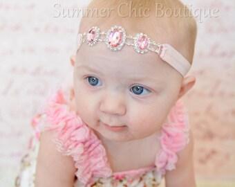 Rhinestone Headband, Baby Headband, Newborn Headband, Infant Headband, Rhinstone Connector Headband, Rhinestone Baby Headband