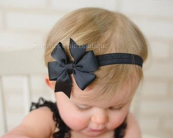 Baby Headband, Bow Headband, Infant Headband, Newborn Headband - Black Pinwheel  Bow Headband, Headband,Bow on Fold over elastic