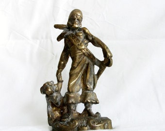 Swashbuckler with pet monkey solid vintage brass sculpture pirate decor statue. Buccaneer & chimp holding hands. Rowdy seadog w best friend