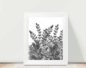 Fern Print, Black and White Art, Watercolor Flowers, 11x14 Print, Watercolor Painting, Charcoal Gray Art, Gray Watercolor, Contemporary Art