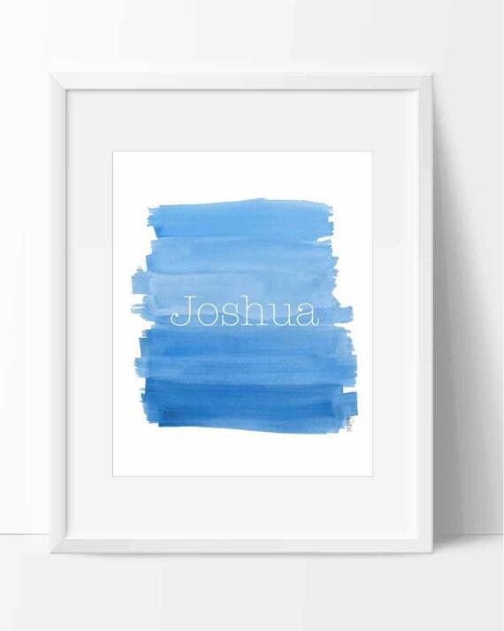 Boy Personalized Brushstrokes Nursery Print in Blue, 8x10
