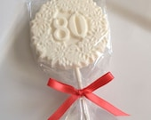 12 Chocolate Decorative 80th Birthday Party Lollipops Candy Favors Eighty
