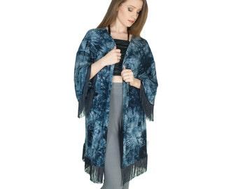 50% OFF // Fringe Kimono Jacket Tie Dye Boho Caftan Navy Blue Cover Up Organic Bamboo Jersey